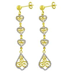 Fremada 14k Two-tone Gold Diamond-cut Filigree Heart Dangle Earrings
