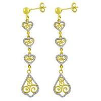 Fremada 14k Two-tone Gold Diamond-cut Filigree Heart Dangle Earrings
