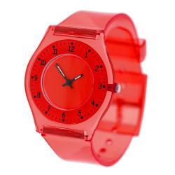 Geneva Women's 'Platinum' Red Translucent Watch