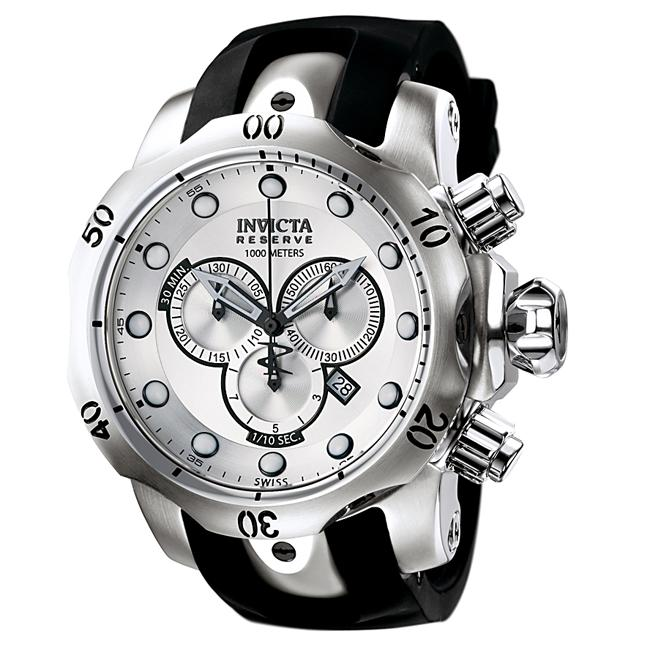 Invicta Men's Reserve Silver Dial Black Rubber Chronograph Watch
