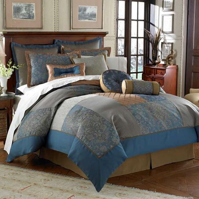 Mirabel Blue Denim California King-size 20-piece Bed in a Bag with Sheet Set