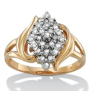 Isabella Collection 18k Gold over Silver Diamond Accent Cluster Ring