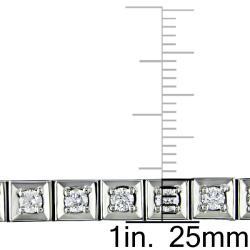 Miadora 14k White Gold 3ct TDW Diamond Tennis Bracelet