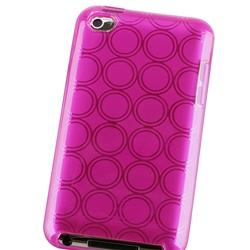 Clear Hot Pink Circle TPU Rubber Case for Apple iPod Touch - Thumbnail 2