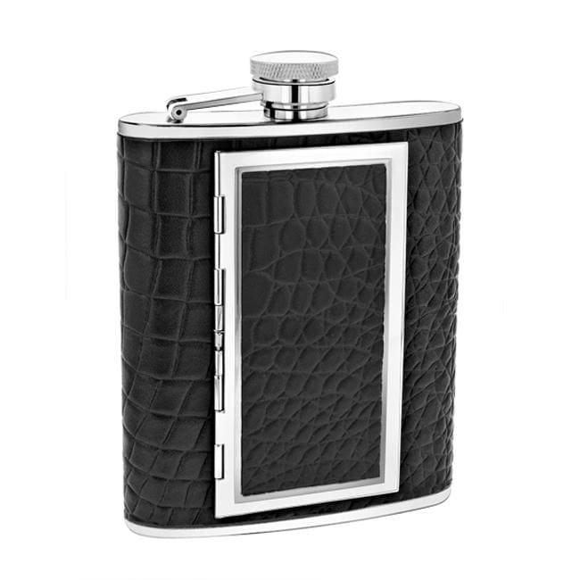 Leather Crocodile 6 Ounce Flask / Cigarette Case Combo