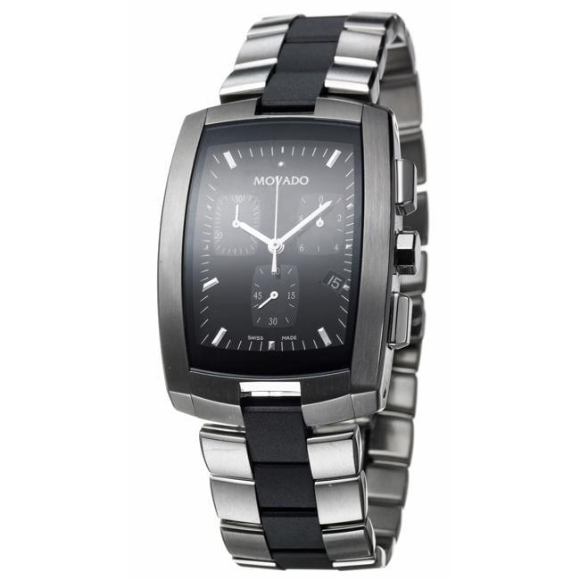 Movado Men's 'Eliro' Steel and Rubber Quartz Chronograph Watch