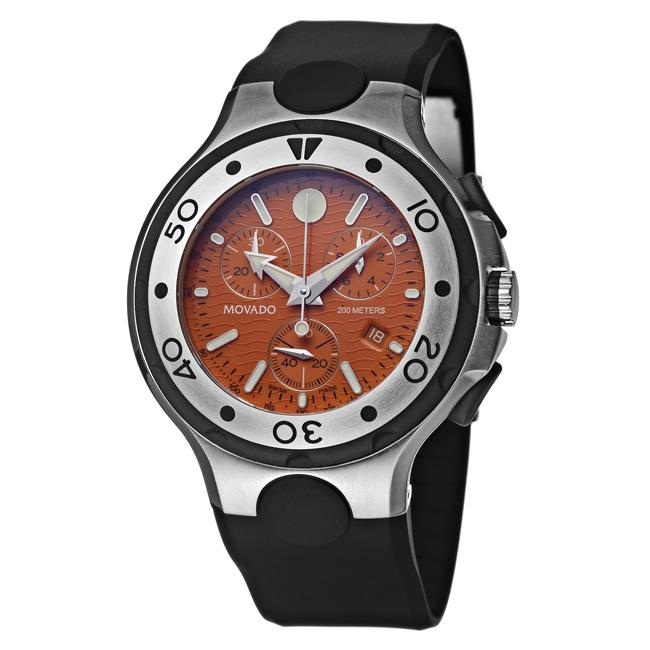 Movado Men's 'Series 800' Steel and Rubber Quartz Chronograph Watch