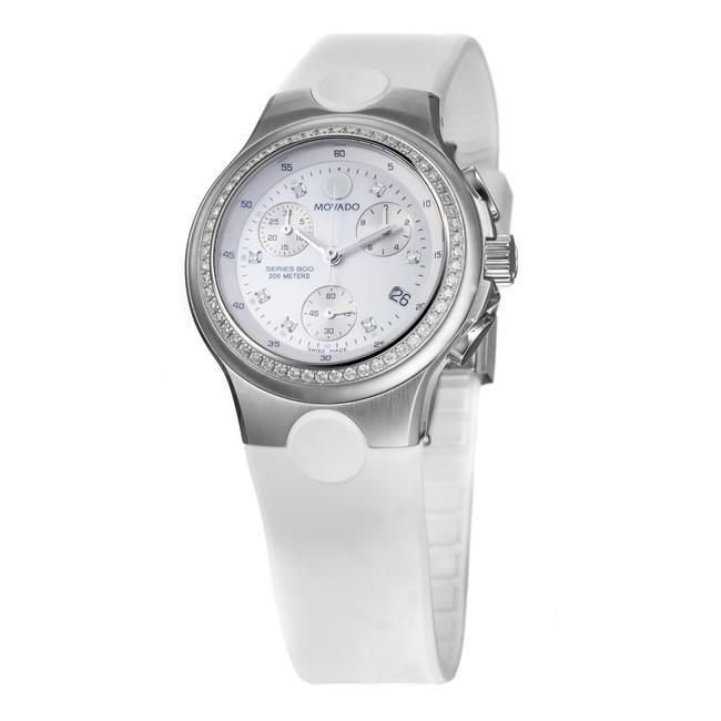 Movado Women's 'Series 800' Steel and Rubber Quartz Diamond Watch
