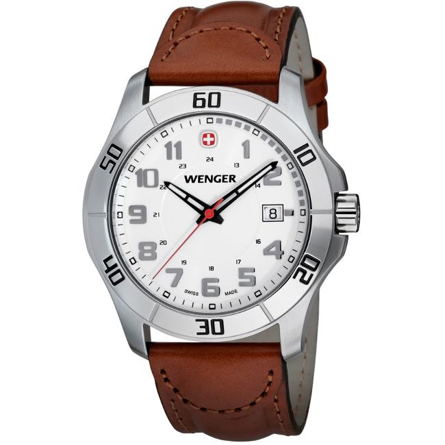 Wenger Men's 'Alpine Silver' Leather Watch