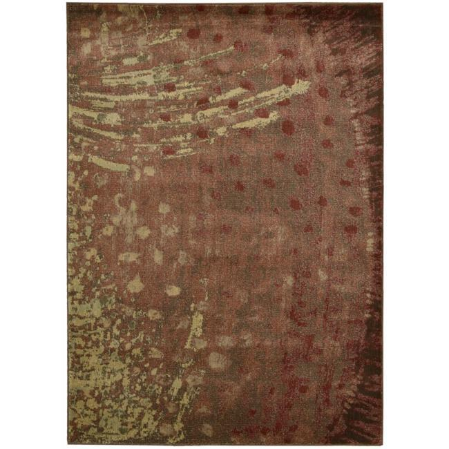 Nourison Monaco Red Abstract Rug (2'3 x 7'6)