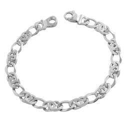 Fremada 14k White Gold Men's Fancy Link Bracelet