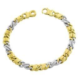 Fremada 14k Two-tone Gold Polished Fancy Link Bracelet