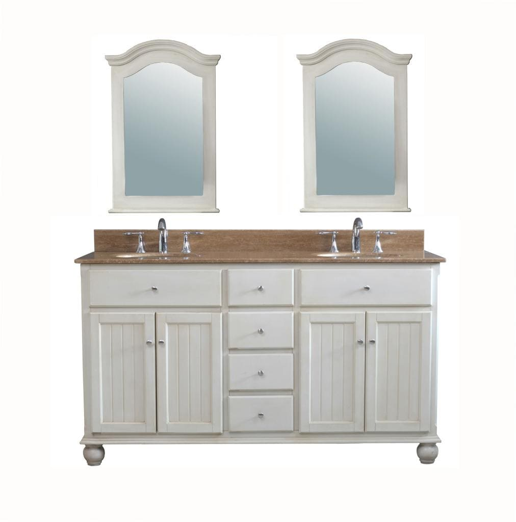 Gemini 62-inch Traditional Double Sink Bathroom Vanity Set ...