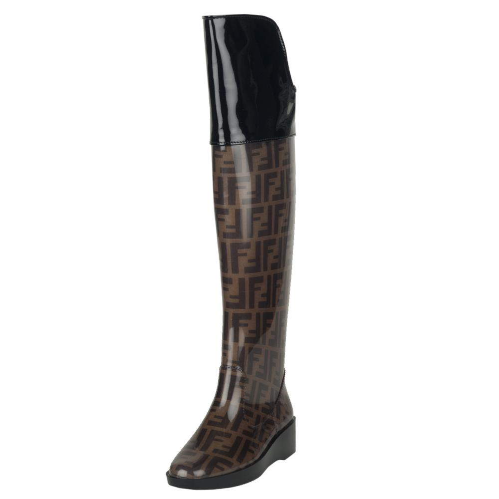 Fendi Women's Over-the-knee Wedge Rain Boots - Free Shipping Today ...