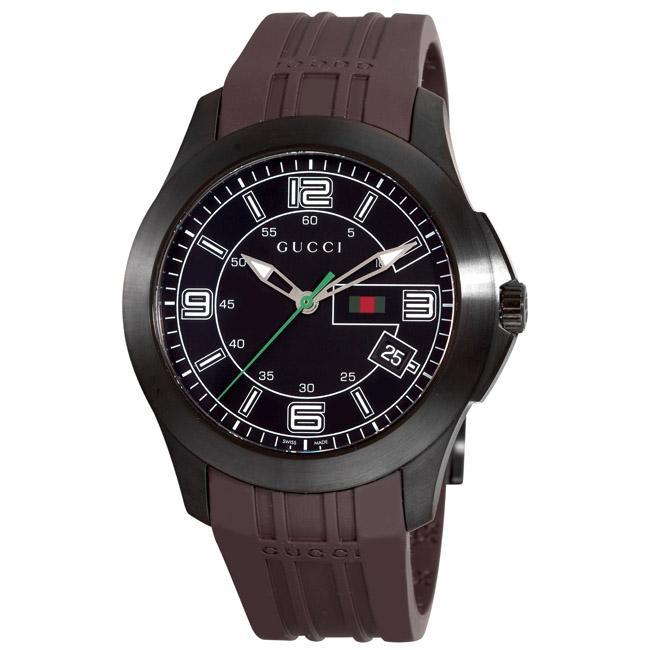 Gucci Men's 'G-Timeless' Black PVD Brown Rubber Strap Watch