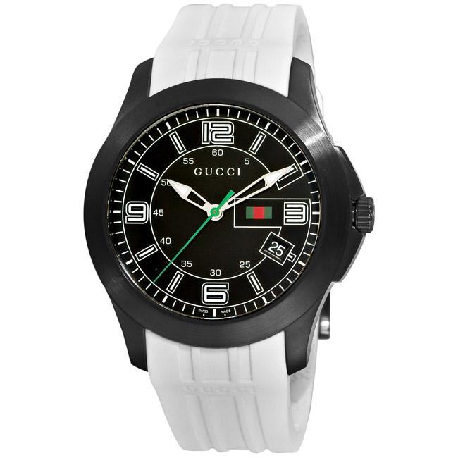 b2a1cea936c Shop Gucci Men s  G-Timeless  Black PVD White Rubber Strap Watch - Free  Shipping Today - Overstock - 5479566