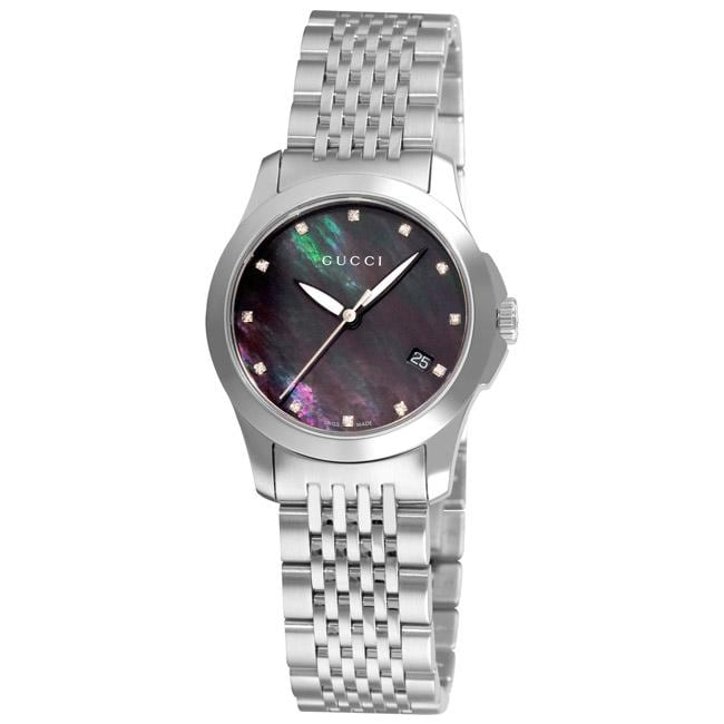 a5df49468e0 Shop Gucci Women s  Timeless  Black Mother of Pearl Face Watch - Free  Shipping Today - Overstock - 5479575
