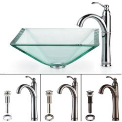 Kraus Aquamarine Clear Glass Vessel Sink and Rivera Bathroom Faucet
