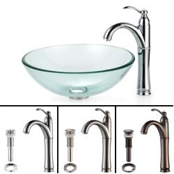 KRAUS Glass Vessel Sink with Riviera Faucet in Chrome