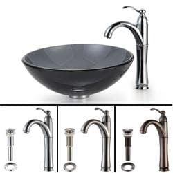 KRAUS Glass Vessel Sink in Black with Single Hole Single-Handle Riviera Faucet in Chrome