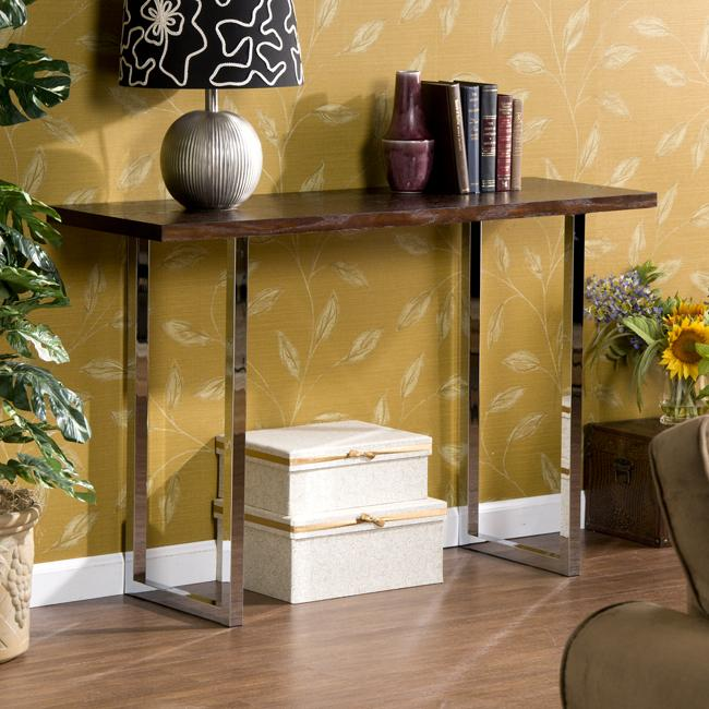 Maywood Espresso and Chrome Sofa Table