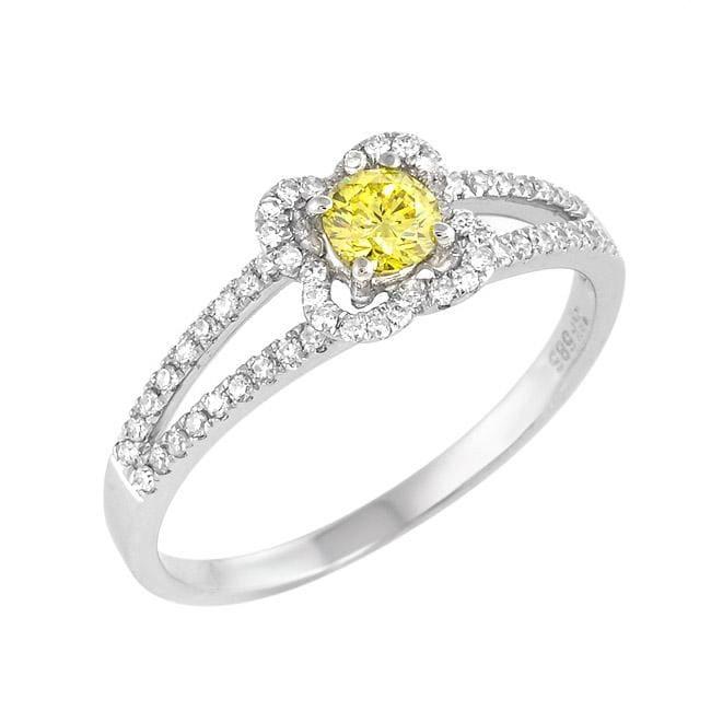 14k White Gold 1/2ct TDW Yellow and White Diamond Ring (G-H, SI1-SI2)