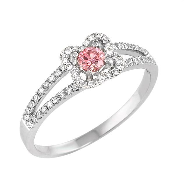 14k White Gold 2/5ct TDW Pink and White Diamond Ring (G-H, SI1)