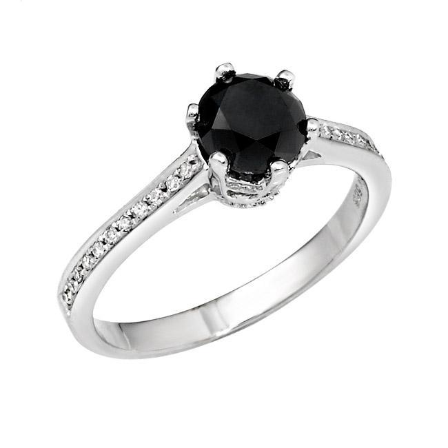 14k White Gold 1 1/3ct TDW Black and White Diamond Ring (G-H, SI1-SI2)