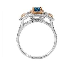 14k Two-tone Gold 1 1/10ct TDW Blue and White Diamond Ring (G-H, SI1-SI2)