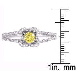 14k White Gold 1/2ct TDW Yellow and White Diamond Ring (G-H, SI1-SI2) - Thumbnail 2