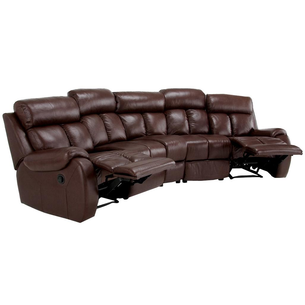 grandview brown italian leather reclining theater