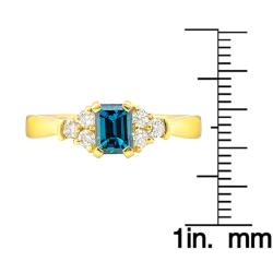 14k Yellow Gold 1ct TDW Blue and White Diamond Ring (G-H, SI1-SI2) - Thumbnail 2