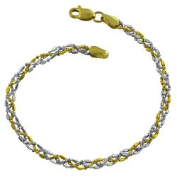 Fremada 14k Two-tone Gold Twisted Alternating Diamond-cut Ball and Bar Bracelet