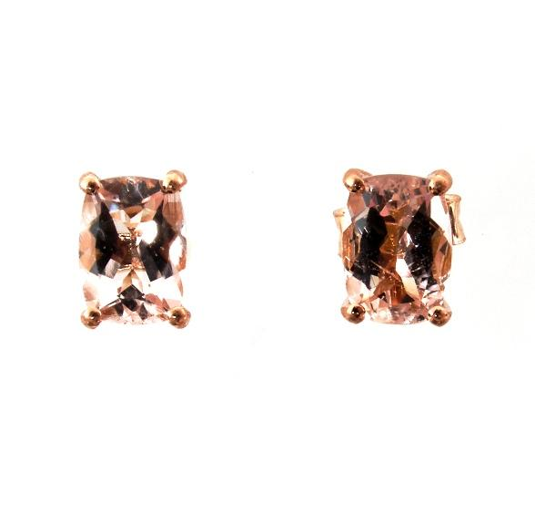 14k Rose Gold Pink Morganite Stud Earrings