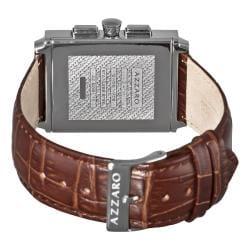 Azzaro Men's 'Legend Rectangular Chrono' Brown Strap Retrograde Watch - Thumbnail 1