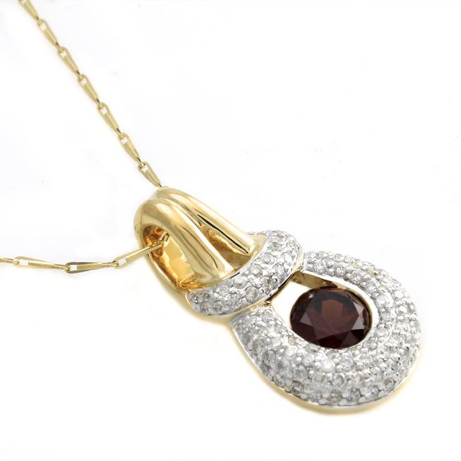 Beverly Hills Charm 14k Yellow Gold Garnet and 1/2ct TDW Diamond Necklace