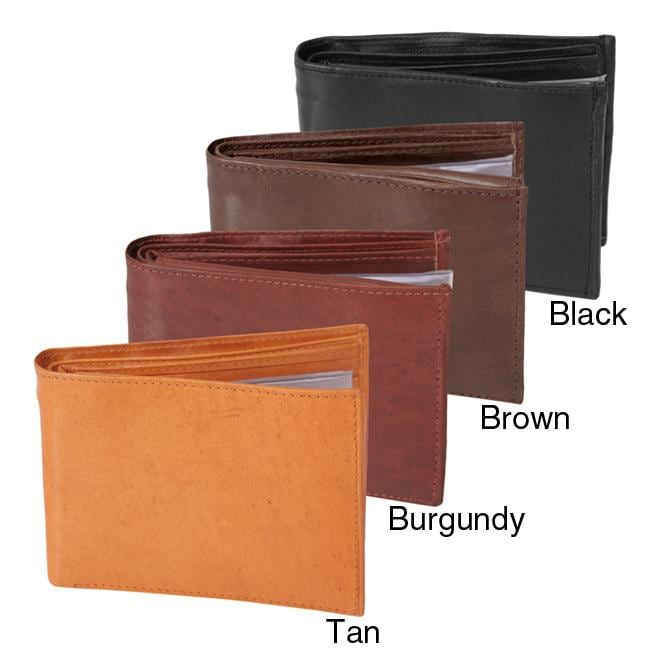 Boston Traveler Men's Genuine Leather Bi-fold Wallet