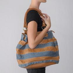 Adi Designs Women's Striped Denim/ Leather Tote - Thumbnail 2
