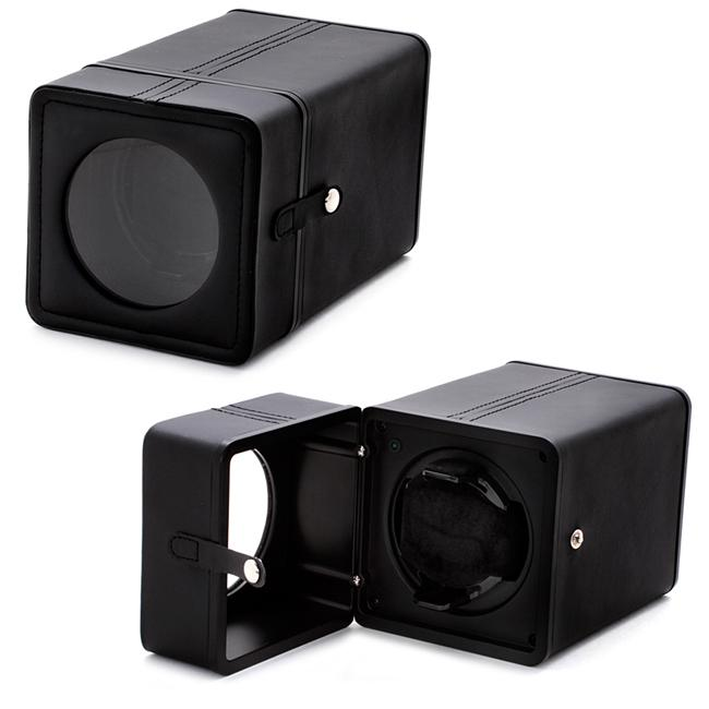 Accessories Black Synthetic Leather Snap-closure Single Watch Winder - Thumbnail 0