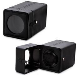 Accessories Black Synthetic Leather Snap-closure Single Watch Winder - Thumbnail 1