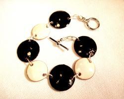 My Three Metals Black and White Enameled Copper Bracelet - Thumbnail 1