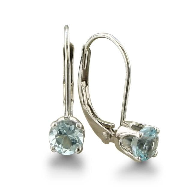 overstock earrings shop 14k white gold aquamarine leverback earrings on 8164