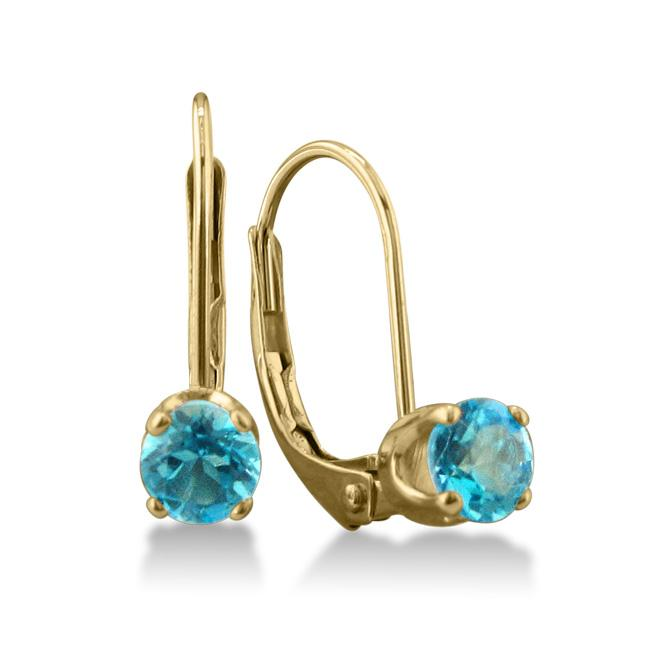 14k Yellow Gold Blue Topaz Leverback Earrings
