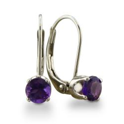 14k White Gold Amethyst Leverback Earrings