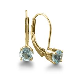 14k Yellow Gold Aquamarine Leverback Earrings