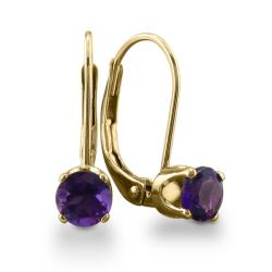 14k Yellow Gold Amethyst Leverback Earrings