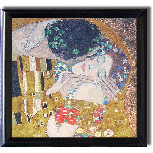 Gustav Klimt 'The Kiss' Framed Canvas Art