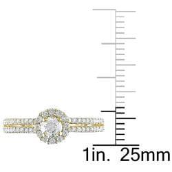 14k Yellow Gold 3/4ct TDW Diamond Halo Ring (G-H, I1-I2)