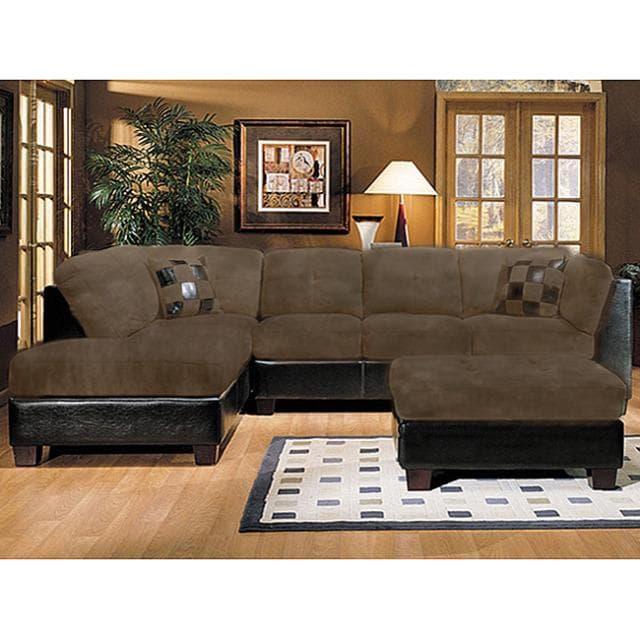 Shop Deltona Microfiber Sectional Sofa And Ottoman Living