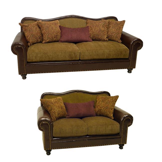 Vincent Espresso Bronze Faux Leather Fabric Sofa And